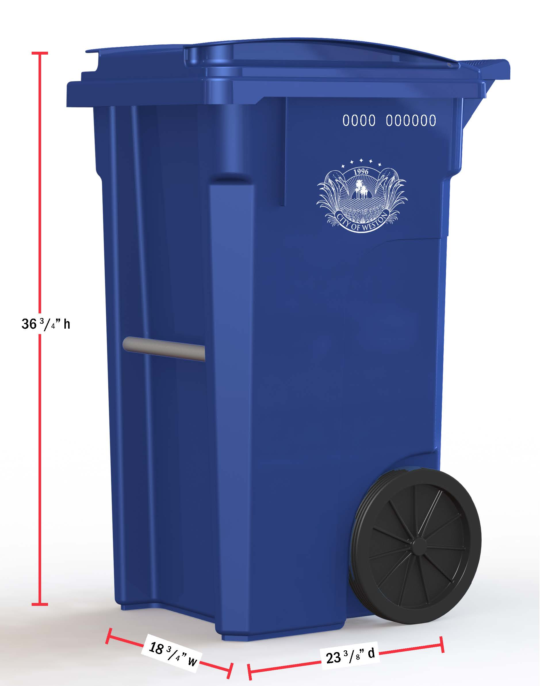 Recycling Cart with dimensions