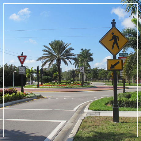 Pictured is a roundabout at Bonaventure Boulevard and Saddle Club Road, one of several roundabouts located in the City of Weston