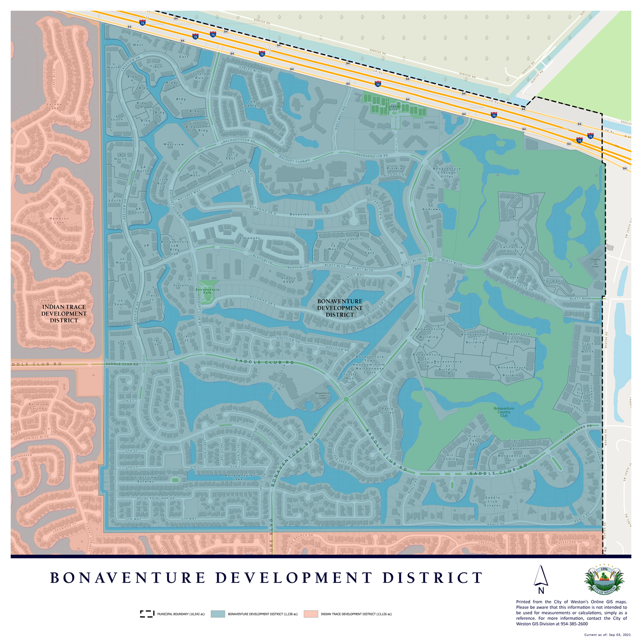 Map of special development districts in Weston, FL