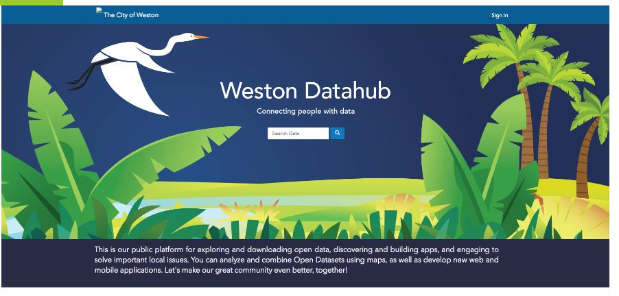 Datahub page on city website