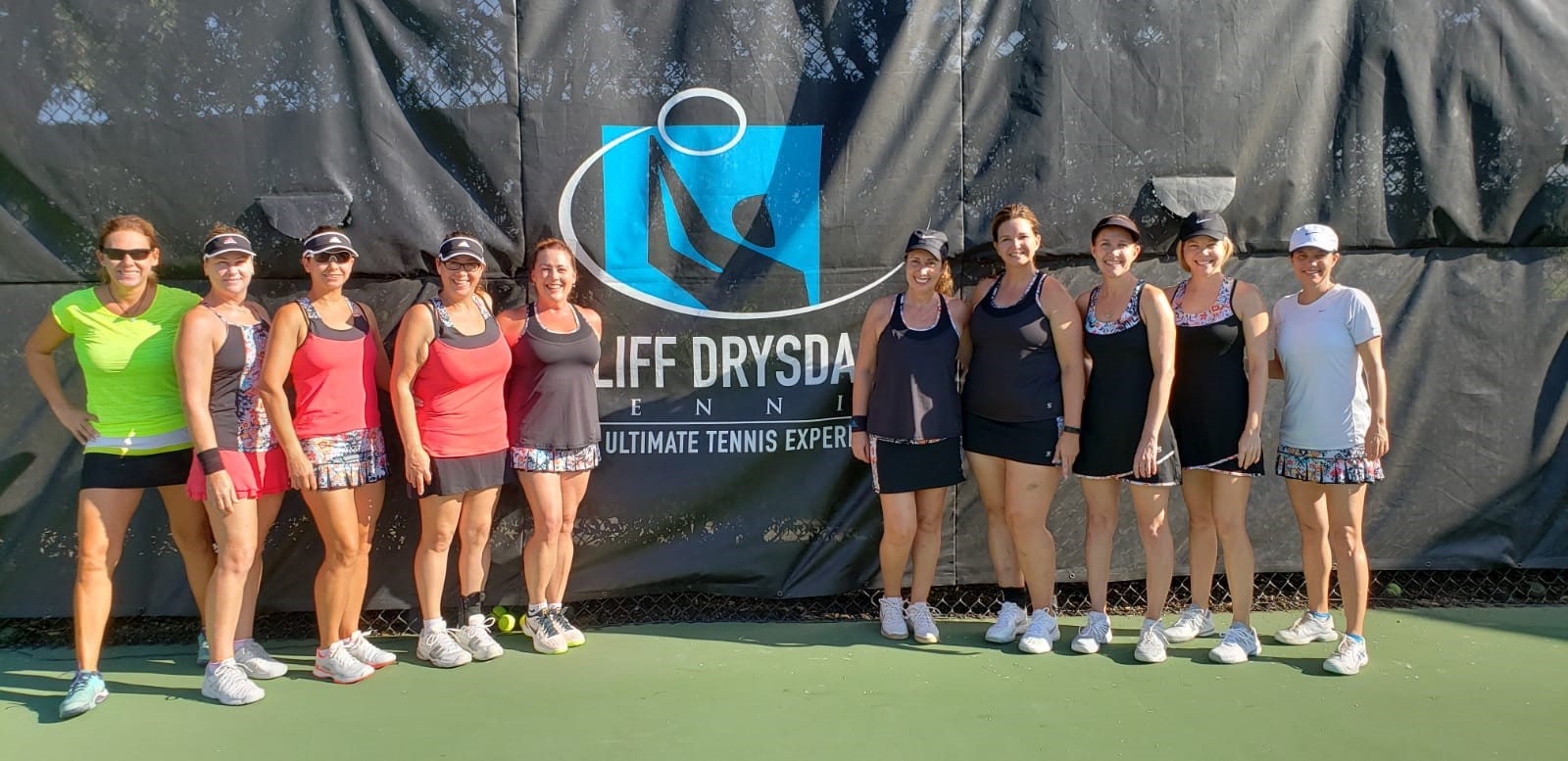 10 Women Tennis Players lined up on Weston Tennis Center court