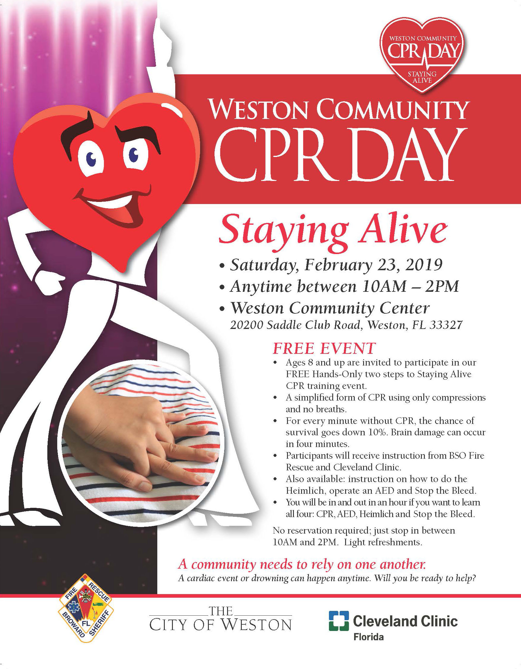 2019 Weston Community CPR Day Flyer for event on February 23, 2019