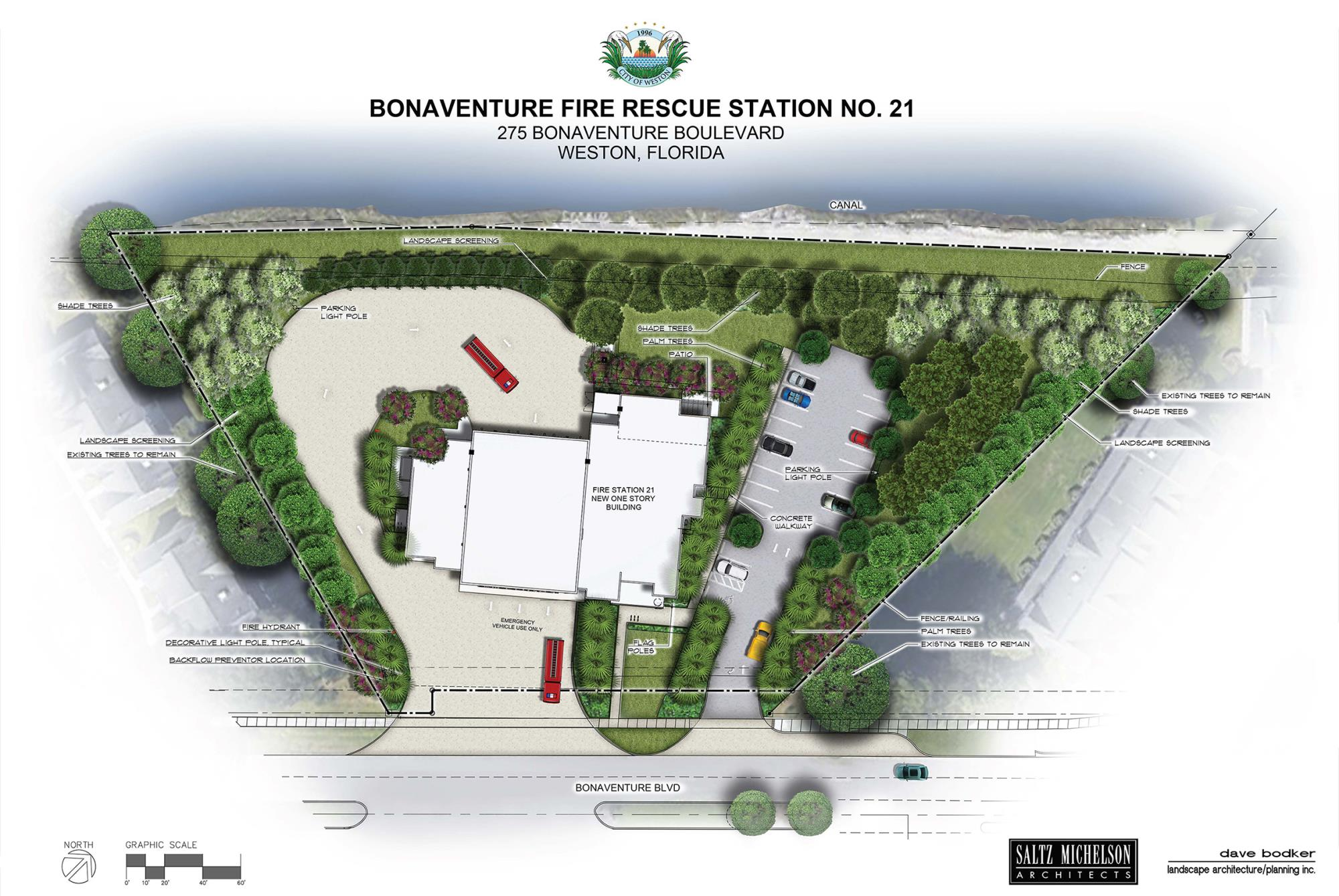 WESTON FIRE STA 21 RENDER SITE PLAN - WITH LANDSCAPING FINAL