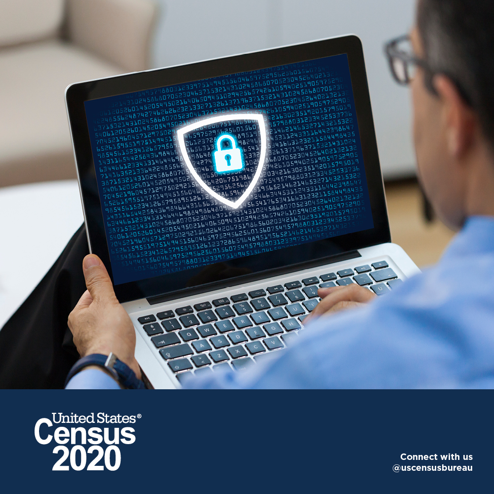 Census 2020 is Secure Online - Man with laptop