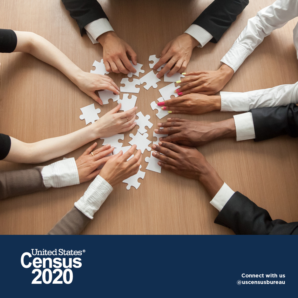 Census 2020 group of diverse individuals putting together the puzzle