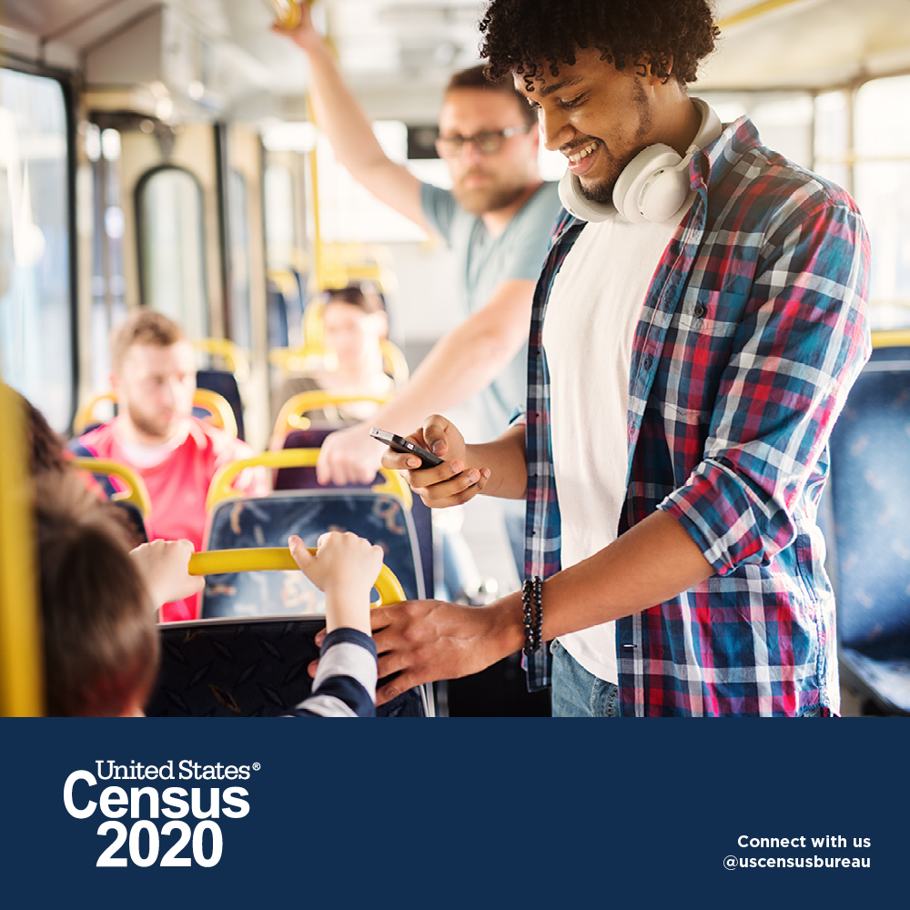 Census 2020 - Young men interacting with other passengers on a bus ride