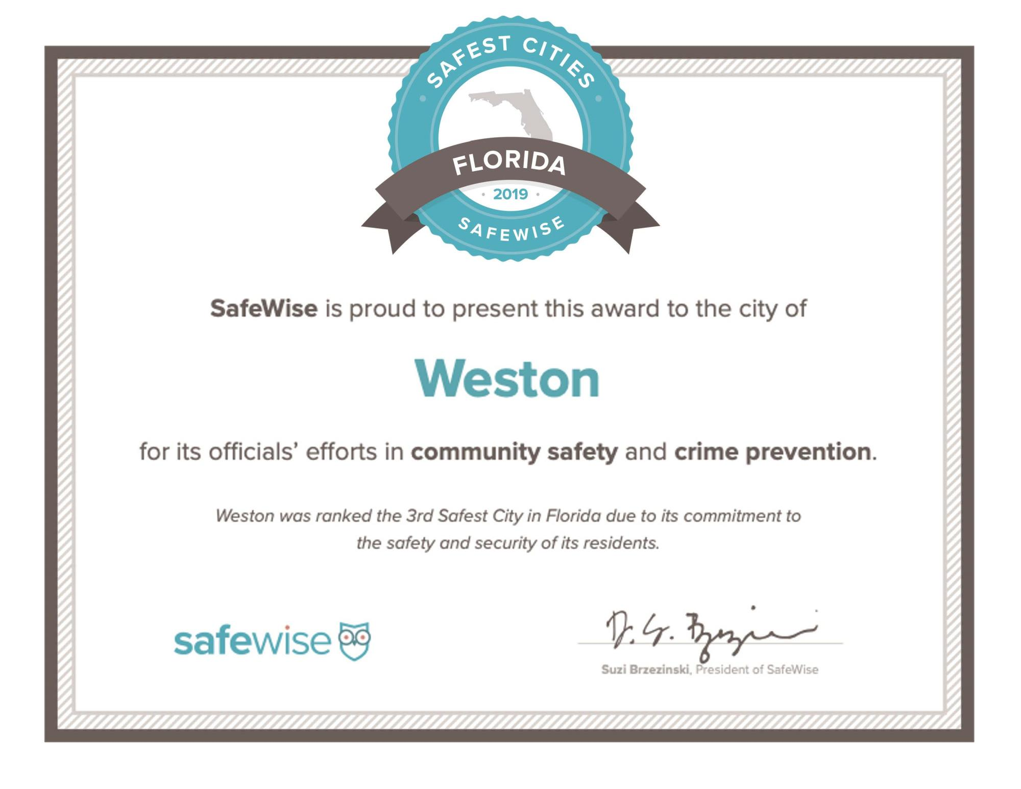 Weston-Florida_Safest City2019