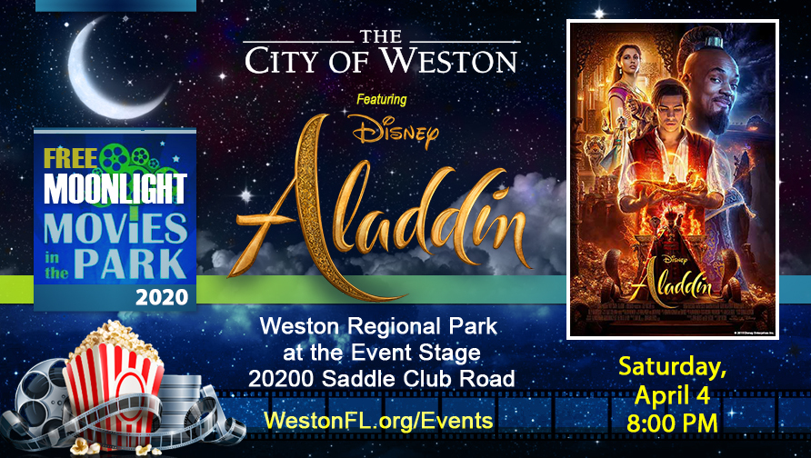 City of Weston Moonlight Flyer with Aladdin Movie Poster