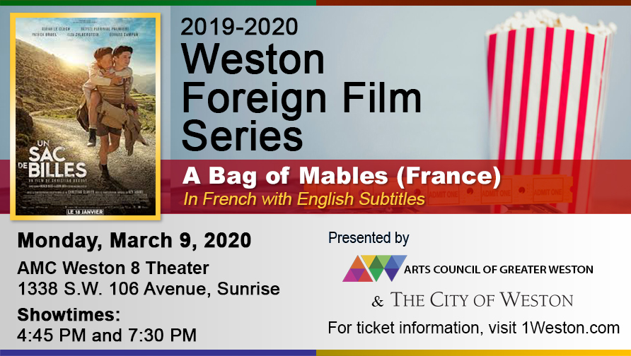 "City of Weston Foreign Flim Flyer of French Movie "" A Bag of Mable"" with movie poster, time, and place of event"