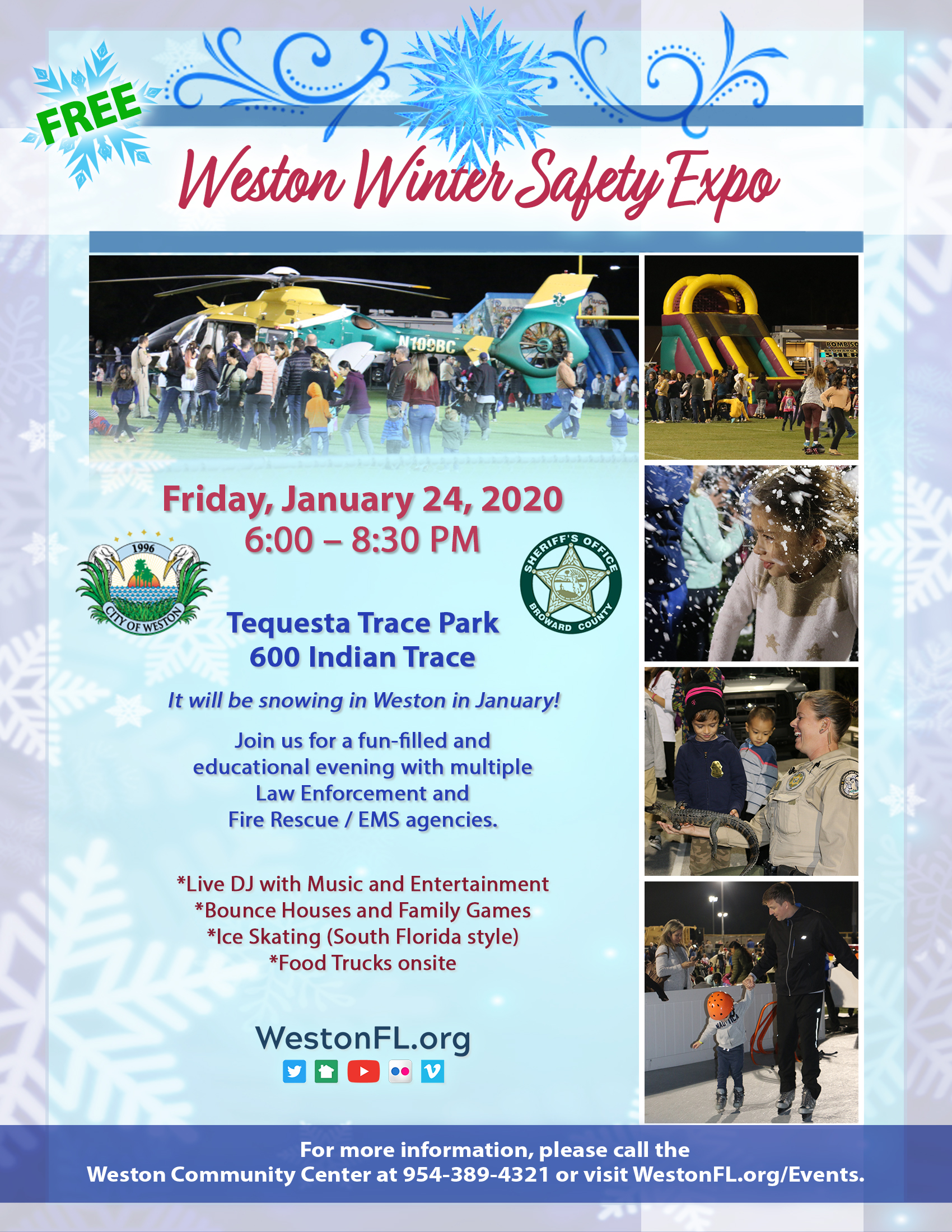 Weston Winter Safety Expo Flyer with pictures, time and place of event