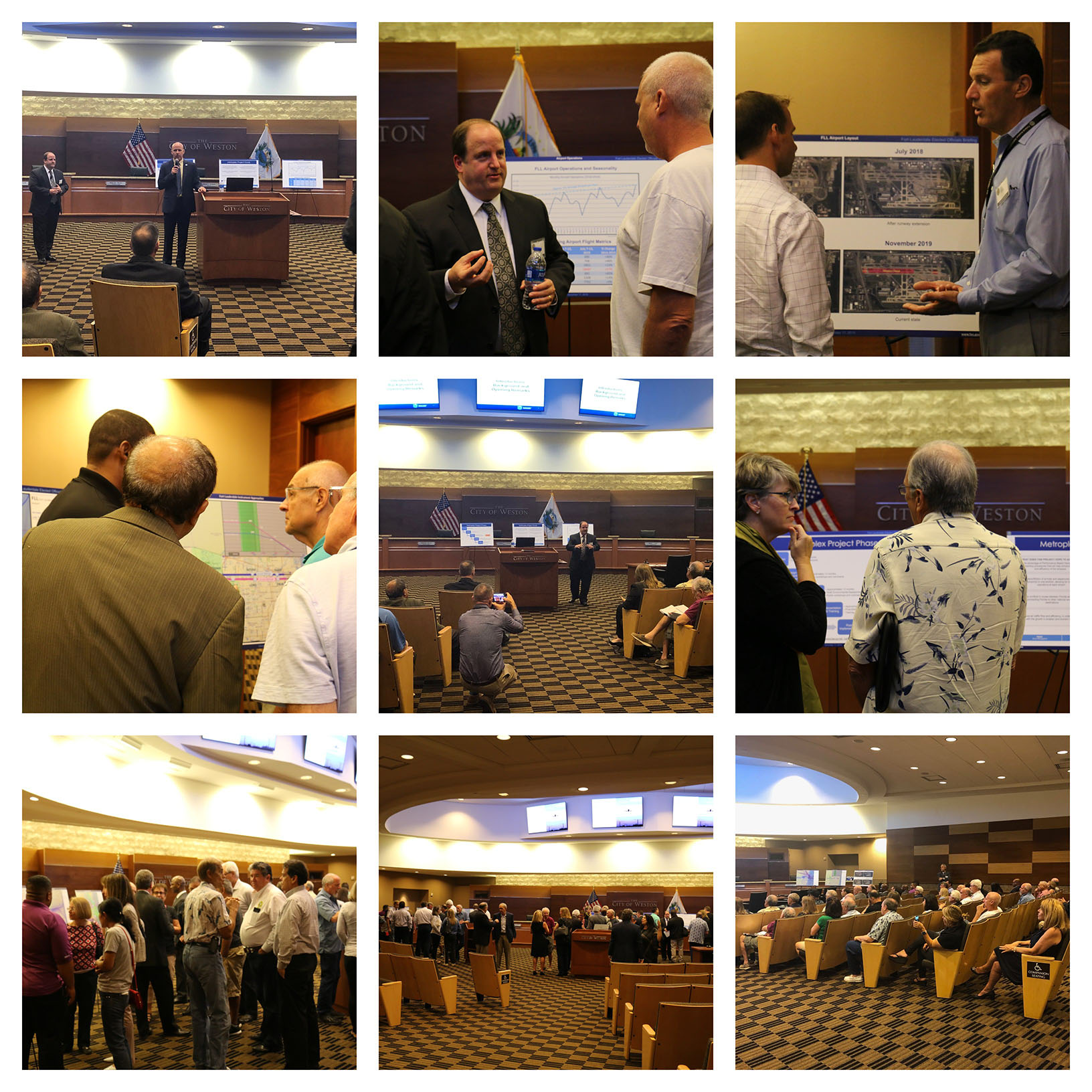Collage of photos of people and presenters from the FAA workshop on DEC 17, 2019 in Weston City Hall
