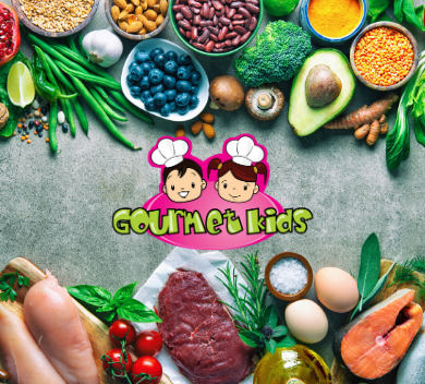Various foods surrounding the Gourmet Kids Logo